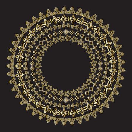 tibet: Monochromatic Ethnic Round Ornamental Vector Illustration