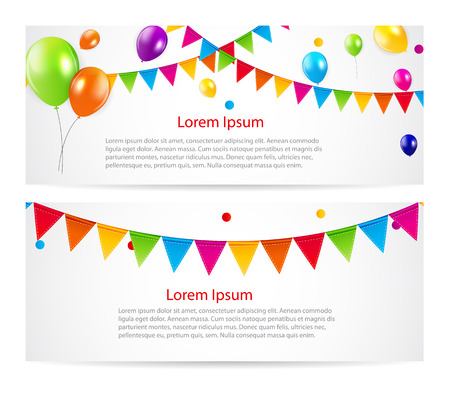 colored balloons: Colored Balloons Card Banner Background, Vector Illustration.  EPS 10