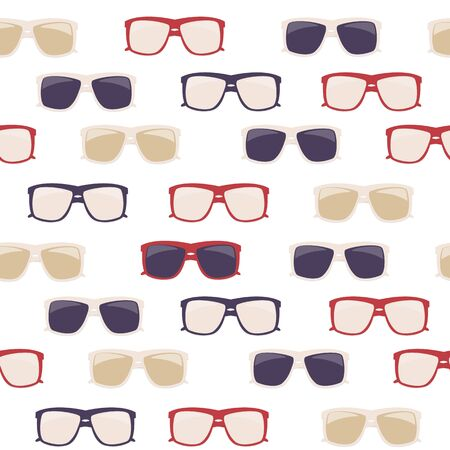 Glasses and Sunglasses Seamless Pattern Vector Illustration