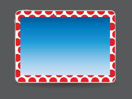liquid crystal display: Black Tablet PC Vector Illustration