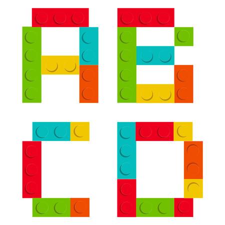 Alfabet set gemaakt van speelgoed bouw baksteenblokken geïsoleerde iso