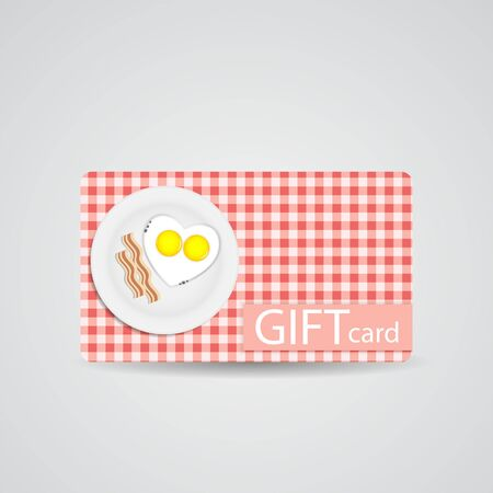 illustrati: Abstract Beautiful Breakfast Gift Card Design, Vector Illustrati