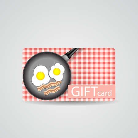 illustrati: Abstract Beautiful Breakfast Gift Card Design, Vector Illustrati