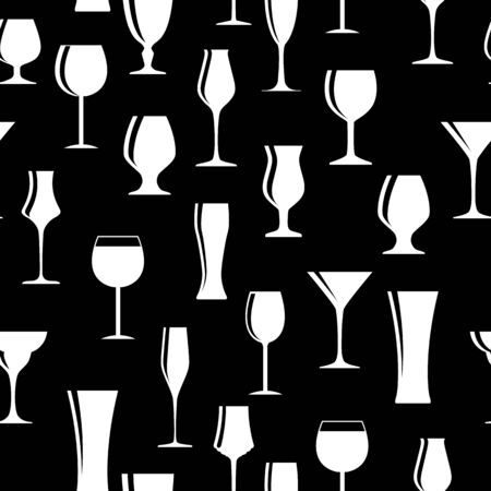 fine dining: Alcoholic Glass Silhouette Seamless Pattern Background Vector Il