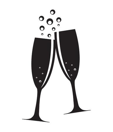 botella champagne: Dos vidrios de Champán Ilustración de la silueta del vector