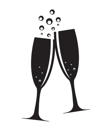 man with glasses: Two Glasses of Champagne Silhouette Vector Illustration