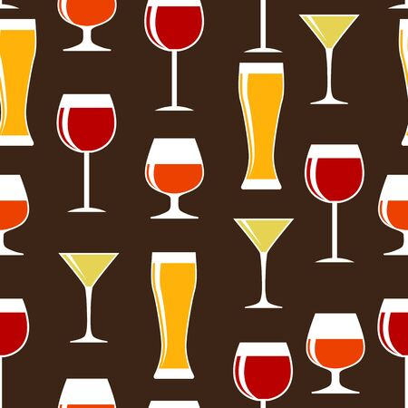 Alcoholic Glass Silhouette Seamless Pattern Background Vector Il Vector
