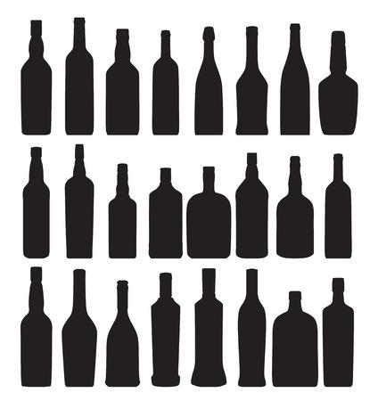 whisky bottle: Vector Illustration of Silhouette Alcohol Bottle