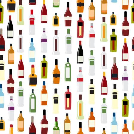 patter: Vector Illustration of Silhouette Alcohol Bottle Seamless Patter Illustration
