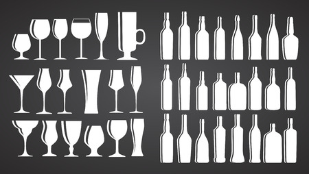 vermouth: Vector Illustration of Silhouette Alcohol Glass and Bottle