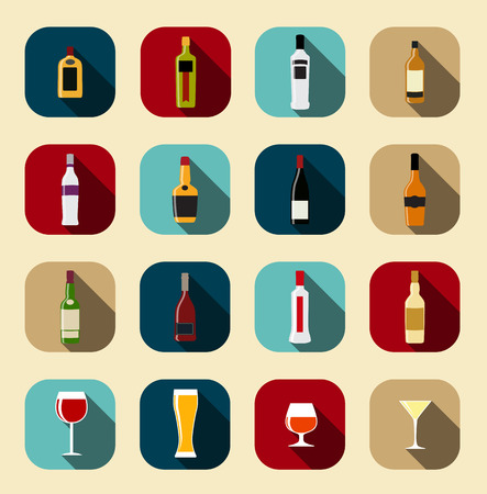 sweet vermouth: Modern Flat Dink Icon Set for Web and Mobile Application in Styl