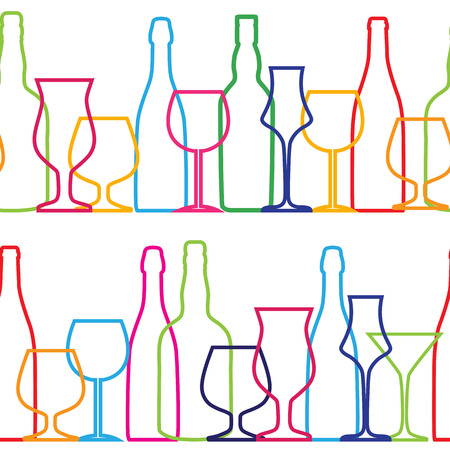 glass with red wine: Vector Illustration of Silhouette Alcohol Bottle Seamless Pattern Background