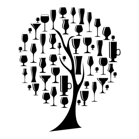 vermouth: Vector Illustration of Silhouette Alcohol Glass on Tree Concept