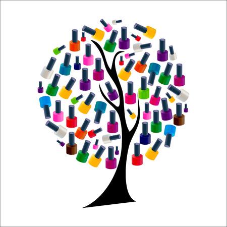 Tree with Realistic Nail Polish Vector Illustration