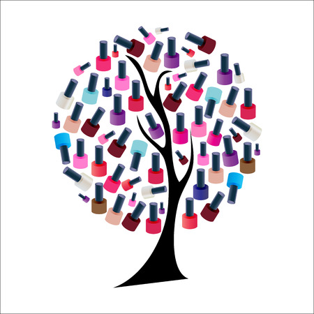 Tree with Realistic Nail Polish Vector Illustration Vector