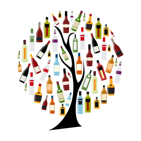 Vector Illustration of Silhouette Alcohol Bottle on Tree Concept Illustration