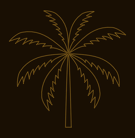 tranquil scene on urban scene: Silhouette of Palm Tree. Vector illustration.