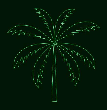 tranquil scene on urban scene: Silhouette of Palm Tree. Vector illustration.