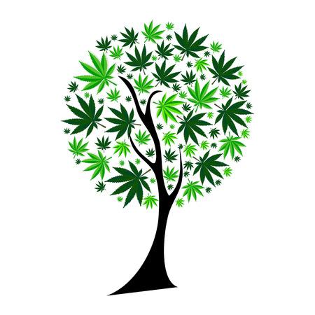 Abstract Cannabis Tree Background Vector Illustration  イラスト・ベクター素材
