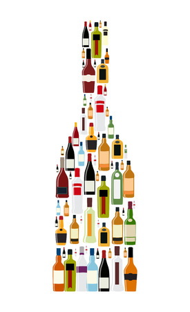 alcohol bottles: Vector Illustration of Silhouette Alcohol Bottle