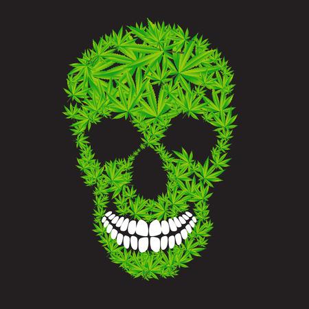drogadiccion: Resumen Ilustración Cannabis cráneo Vector