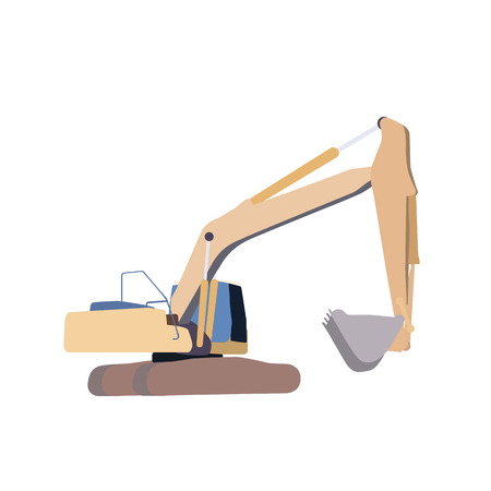 front loading: Working Excavator. Isolated