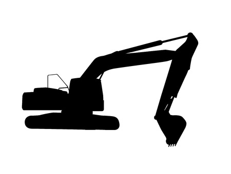 Working Excavator. Isolated