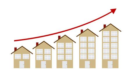 house exchange: Rising Housing Market Concept Vector Illustration Illustration