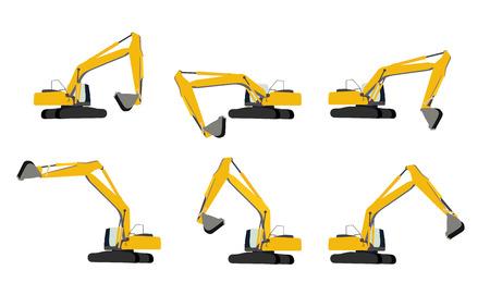 front loading: Excavator Work Set. Vector Illustration