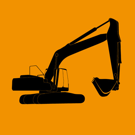 Excavator work. Vector Illustration