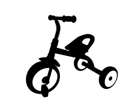ni�os en bicicleta: Los ni�os de la bicicleta con tres ruedas. Aislado