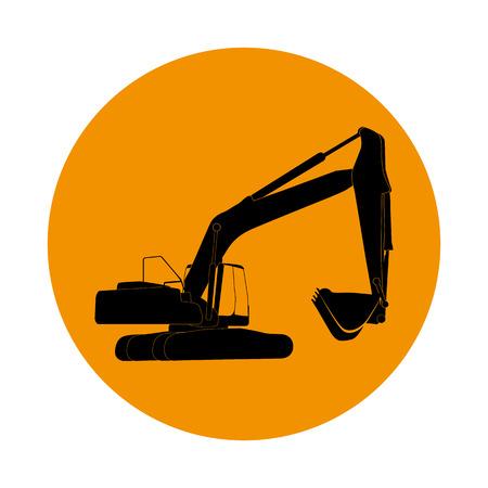 dredging tools: Excavator work. Vector Illustration