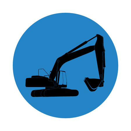 dredging tools: Excavator work. Vector Illustration