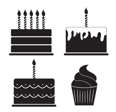birthday candle: Birthday Cake Silhouette Set Vector Illustration Illustration
