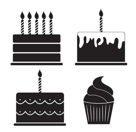 marco cumpleaños: Ilustración Pastel de cumpleaños de la silueta Vector Set