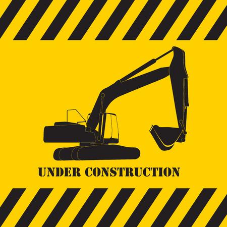 tractor warning: Excavator Work Under Construction. Vector Illustration