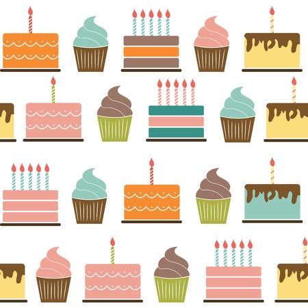 illustrati: Birthday Cake Flat Seamless Pattern Background Vector Illustrati