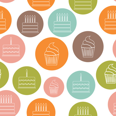illustrati: Birthday Cake Flat Seamless Pattern Background Vector Illustrati