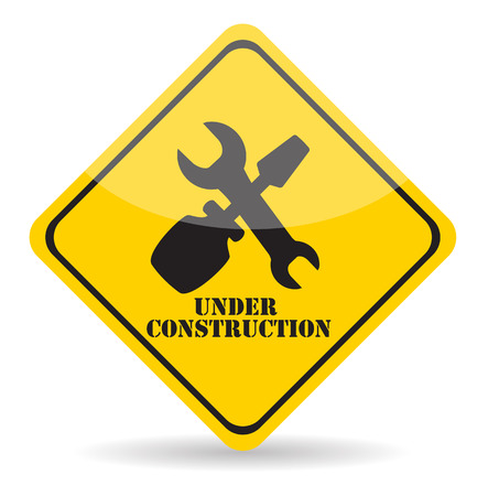 tractor warning: Under Construction. Illustration