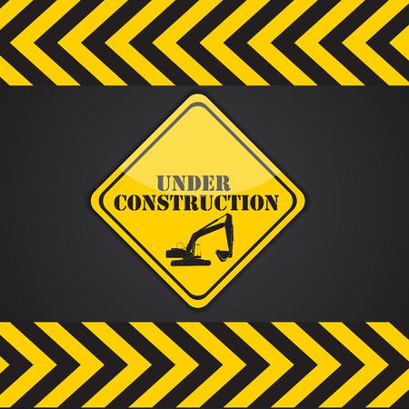 tractor warning: Under Construction. Vector Illustration