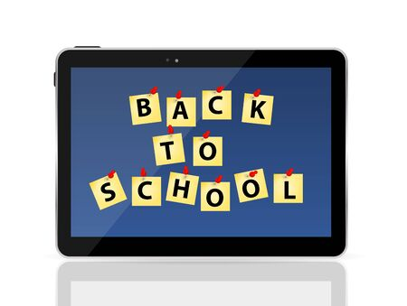 liquid crystal display: Black Tablet PC with Back to School Vector Illustration