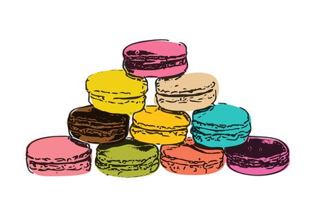 europe closeup: Sweet Tasty Drawn Macaroons Isolated on White Background Illustration