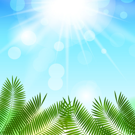 horizon over water: Summer Sunny Natural Background Vector Illustration EPS10