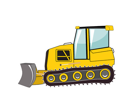 front loader: Bulldozer. Major Construction. Vector Illustration. EPS10