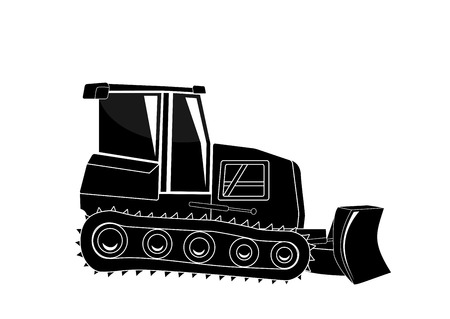 road scraper: Bulldozer. Major Construction. Vector Illustration. Illustration