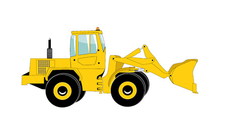 Excavator work. Isolated on White Background. Illustration