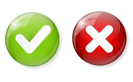 green check mark: Red and Green Check Mark Icon Button Vector Illustration Illustration