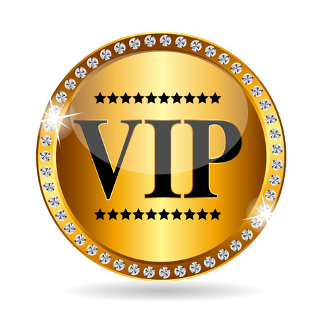 organized group: VIP Members Label Vector Illustration