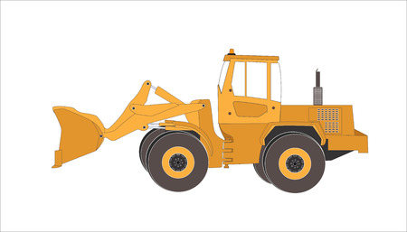 dredging tools: Excavator work. Isolated Illustration