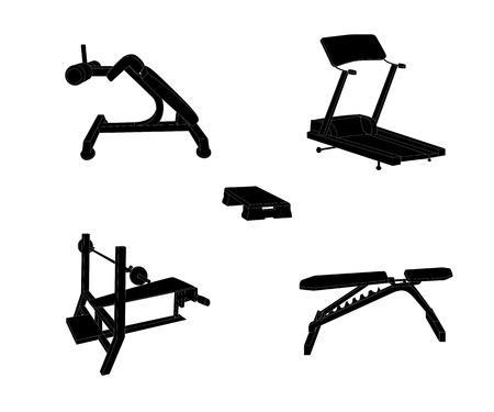 simulator: Set of Sports Trainer. Simulator. Isolated Vector Illustration.
